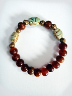 Scarab stretch bracelets with horn and brass