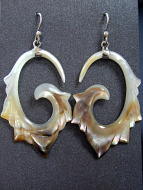 Hand-carved shell earrings with sterling silver ear wires, handcarved from remnants of recycled mother of pearl shell in Bali