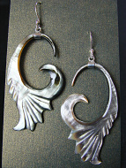 Hand-carved shell earrings (bronze dark colored) with sterling silver ear wires, handcarved from remnants of recycled mother of pearl shell in Bali