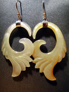 Hand-carved shell earrings (golden light colored) with sterling silver ear wires, handcarved from remnants of recycled mother of pearl shell in Bali