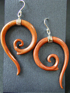 Hand-carved wood earrings with sterling silver ear wires, handcarved from remnants of recycled mother of pearl shell in Bali