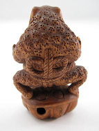 handcarved boxwood netsuke of sumo wrestling frog