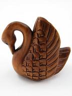 handcarved boxwood netsuke of swan