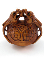 handcarved boxwood netsuke of dragon gong
