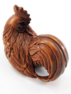 handcarved boxwood netsuke of rooster