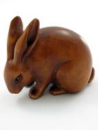 handcarved boxwood netsuke carving of jack rabbit