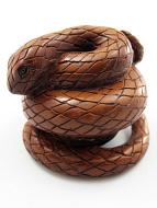 handcarved boxwood netsuke of coiled snake