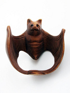 handcarved boxwood netsuke of bat