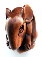 handcarved boxwood netsuke of mouse