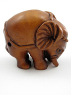 handcarved boxwood netsuke carving of elephant