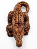handcarved boxwood netsuke of alligator