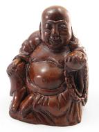 handcarved boxwood netsuke of laughing buddha