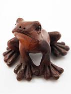 handcarved boxwood netsuke of tree frog