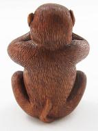 handcarved boxwood netsuke of speak no evil monkey