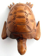 handcarved boxwood netsuke of sea turtle