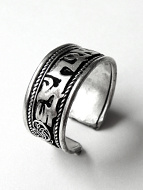 Silver-Tone Filagree Brass Om Ring