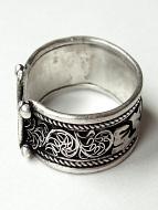 Silver-Tone Fillagree Brass Om Ring