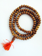 Prayer bead mala strand of 108 naturally fragrant 7mm sandalwood beads