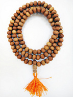 8mm sandalwood mala strand coiled up