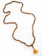 Knotted prayer bead mala strand of 108 naturaly fragrant 8mm sandalwood beads