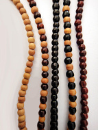 3mm Sandalwood, Sandalwood & Rosewood, Ebony, Sandalwood & Ebony and Rosewood necklaces