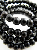 Prayer bead mala strand of 108 7mm ebony wood beads with no tassel