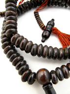 Prayer bead mala strand of 108 dark bone rondell beads