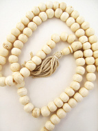 Prayer bead mala strand of 108 10mm light bone beads