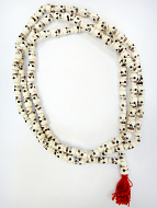 Prayer bead mala strand of 108 carved bone skull beads