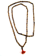 Prayer bead mala strand of 108 dark carved bone skull beads