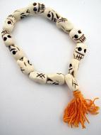 top view of skull mala bracelet
