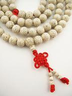 Prayer bead mala strand of 108 white Lotus Seed beads