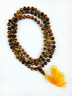 Knotted prayer bead mala strand of 108 tigers eye beads