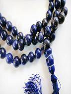 Knotted Lapiz Lazuli bead Mala showing closeup detail