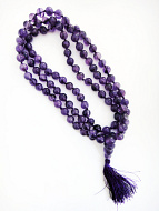 view of coiled strand of amethyst mala
