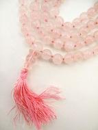 knotted prayer bead mala strand of 108 natural rose quartz beads