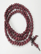 Prayer bead mala strand of 108 carved 8mm Purpleheart wood beads
