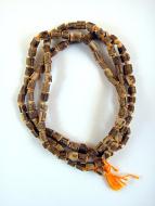 Knotted prayer bead mala strand of 108 Tulsi wood beads
