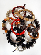 Assorted Seed Pod Stretch Bracelets - showing typical assortment