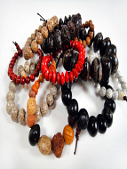 Assorted Seed Pod Stretch Bracelets - showing typical assortmen