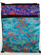 Turquoise and Blue Shoulder-Bag, decorated with the dragon-brocade