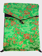 Green shoulder-bag with flap and bell, decorated with the dragon-brocade