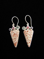 Sterling silver earrings featuring fossil coral with aquamarine, rhodolite and iolite accent stones