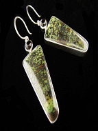 Sterling silver earrings featuring serpentine with smokey quartz accent stones.