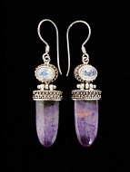 Sterling silver earrings featuring sugilite with rainbow moonstone accent stones.