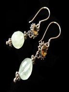 Sterling silver earrings featuring citrine and aventurine