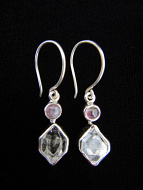 Sterling silver earrings featuring natural herkimer diamonds with pink tourmaline accent stones