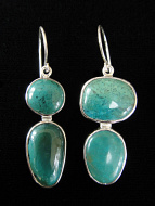 Sterling silver earrings featuring uniquely paired chrysocolla stones