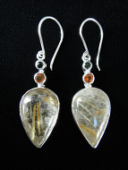 Sterling silver earrings featuring rutilated quartz with tourmaline and citrine accent stones