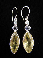Sterling silver earrings featuring faceted lemon quartz with aquamarine and iolite accent stones